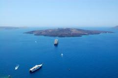 Santorini海岛火山视图 库存图片