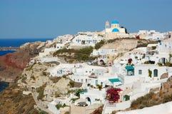 Santorini海岛Oia视图 免版税图库摄影