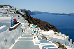 Santorini海岛Oia视图 免版税库存图片