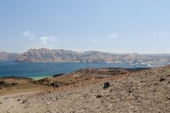 Santorini火山视图 图库摄影