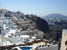 Santorini的之家 库存照片