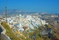 Santorini的,希腊Fira全景2 免版税库存图片