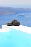 Santorini视图-希腊(Firostefani) 免版税图库摄影