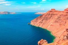 Santorini è un'isola vulcanica Fotografia Stock
