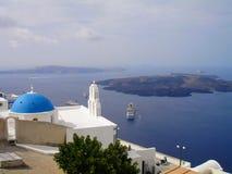 Santorini, één van het meest bezochte Eiland Griekenland stock afbeelding