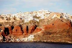 Santorini, Ελλάδα από το Αιγαίο πέλαγος Στοκ εικόνα με δικαίωμα ελεύθερης χρήσης