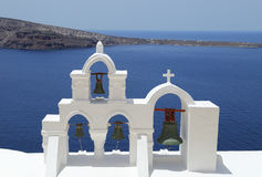 Santorini, κουδούνια εκκλησιών της Ελλάδας Στοκ Φωτογραφίες