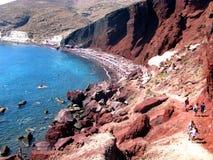 Santorini - κόκκινη παραλία Στοκ Εικόνες