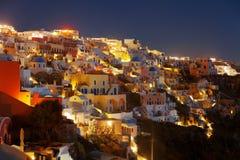 Santorini τη νύχτα Στοκ εικόνες με δικαίωμα ελεύθερης χρήσης