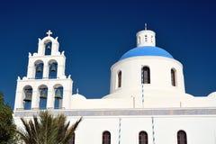 Santorini, Греция, взгляд от шлюпки круиза Стоковая Фотография RF