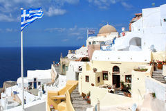 santorini острова холма Греции зданий Oia, городок Fira Традиционные и известные дома и церков над кальдерой Стоковая Фотография