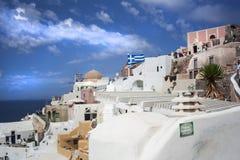 santorini острова холма Греции зданий Oia, городок Fira Традиционные и известные дома и церков над кальдерой Стоковые Изображения RF