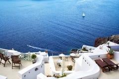 santorini острова холма Греции зданий Oia, городок Fira Традиционные и известные дома и церков над кальдерой Стоковое Фото