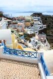 santorini острова холма Греции зданий Oia, городок Fira Традиционные и известные дома и церков над кальдерой Стоковые Изображения