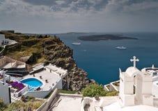 Santorini破火山口视图 免版税库存照片