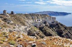 Santorini破火山口视图 库存图片
