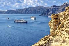 Santorini破火山口视图 免版税库存图片