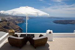 Santorini. A balcony with view on the Santorini's bay, Greece Stock Images
