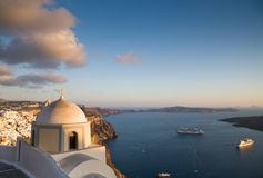 Santorini. A picture of a white church looking out over the bay of santorini Royalty Free Stock Photography