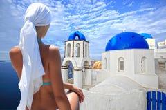 希腊海岛santorini 图库摄影