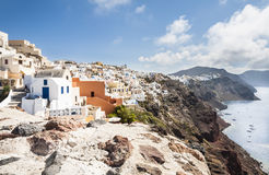 Santorini. View across the collapsed caldera of Santorini, South Aegean, Greece royalty free stock images