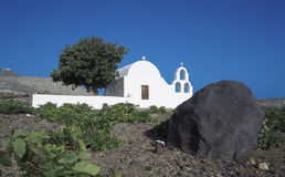 Santorini. Chapel and vineyard, santorini island, greece stock images