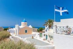 Самая известная церковь на острове Santorini, Крите, Греции.  стоковые изображения