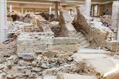 Остров Santorini, Крит, Греция. Руины и археологические раскопки стоковое изображение rf