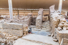 Остров Santorini, Крит, Греция. Руины и археологические раскопки стоковое фото