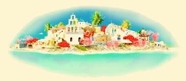 Santorini Vector Illustratie