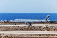 Santorini-Abfahrt-ägäische Luft Stockbild