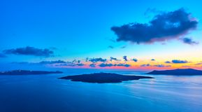 Santorini - Aegean sea at sundown royalty free stock images
