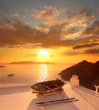Santorini against sunset, Greece Royalty Free Stock Photography