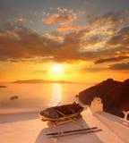 Santorini against sunset, Greece royalty free stock photography