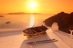 Santorini against sunset, Greece royalty free stock photo