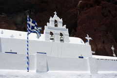 Santorini Akrotiri Agios Nikolaos Church. The red beach is one of the most famous and beautiful of the beaches of Santorini. It is located near the village and Stock Images