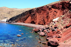 Santorini Akrotiri Red Beach. The red beach is one of the most famous and beautiful of the beaches of Santorini. It is located near the village and ancient site Stock Photos
