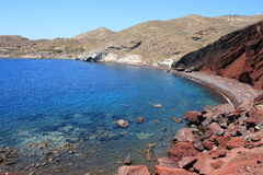 Santorini Akrotiri Red Beach. The red beach is one of the most famous and beautiful of the beaches of Santorini. It is located near the village and ancient site Stock Photo