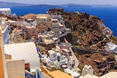 Santorini alt und neu Stockbilder