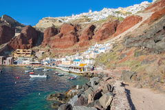Santorini - The Amoudi harbor of Oia in evening light. Stock Image