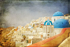 Santorini architecture vintage paper styled Stock Photos