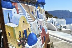 Santorini art on art Stock Image