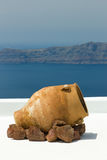 Santorini balconny with view at the sea Stock Photography