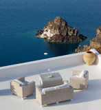 Santorini balconny with view at the sea Royalty Free Stock Photography