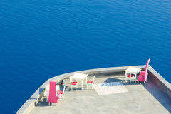 Santorini balconny with view at the sea Stock Photo