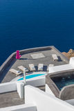 Santorini balconny with view at the sea Stock Images