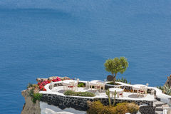 Santorini balconny with view at the sea Royalty Free Stock Photo
