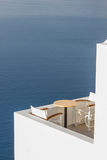 Santorini balconny with view at the sea Royalty Free Stock Photos