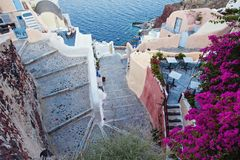 Santorini. Beautiful Santorini streets ans stairs stock image