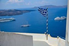 Santorini - bello posto per un rilassamento Fotografie Stock Libere da Diritti